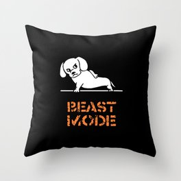 Beast Mode Dachshund Throw Pillow