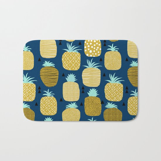 Pineapple tropical navy stripes pattern summer fruits print pillow phone case Bath Mat