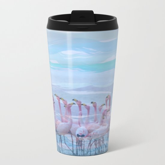 Flamingos #7, fun design Metal Travel Mug