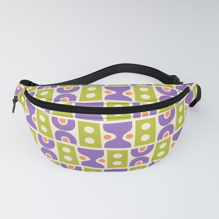 Mid Century Abstract Pattern Purple Orange Chartreuse Fanny Pack