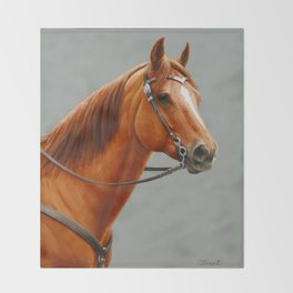 Red Dun Western Quarter Horse Throw Blanket