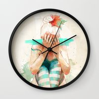 autumn Wall Clocks featuring Autumn by Ariana Perez