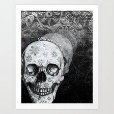 Not here floral skull Art Print