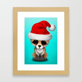 Christmas Fox Wearing a Santa Hat Framed Art Print