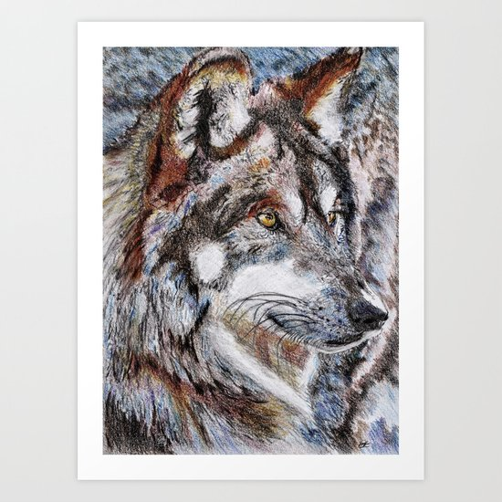 Gray Wolf Watches and Waits Art Print