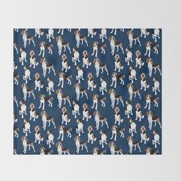 Treeing Walker Coonhounds on Navy Throw Blanket