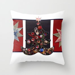 Christmas D6 - Tree & Stars Throw Pillow