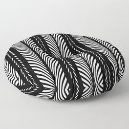 Geometric Black and White Herringbone Tribal Pattern Floor Pillow