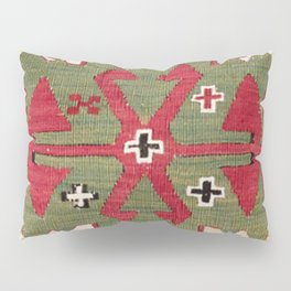Red Diamond Arrow Konya // 19th Century Authentic Colorful Blue Green Cowboy Accent Pattern Pillow Sham
