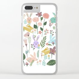 Springtime In The Bunny Garden Of Floral Delights Clear iPhone Case