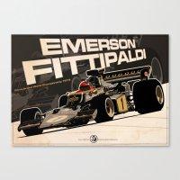 f1 Canvas Prints featuring Emerson Fittipaldi - F1 1973 by Evan DeCiren