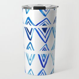 Tie Dye Indigo blue, surface texture, greek pattern, diamonds, watercolor Travel Mug