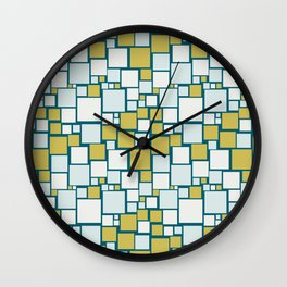 Off White, Pale Blue, Dark Yellow Funky Mosaic Squarre Pattern on Dark Teal Inspired by Sherwin Williams 2020 Trending Color Oceanside SW6496 Wall Clock