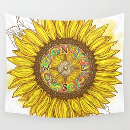 Sunflower Compass Wall Tapestry