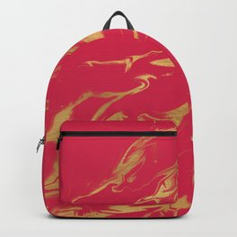 Hot Pink Gold Marble Backpack