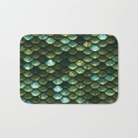 Aqua and green sparkling mermaid glitter scales- Mermaidscales Bath Mat