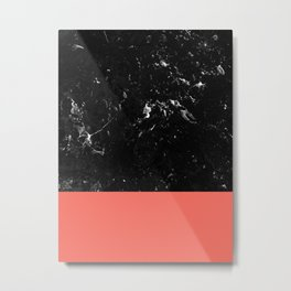Living Coral Meets Black Marble #1 #decor #art #society6 Metal Print