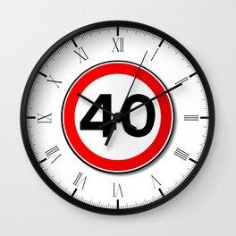 40 MPH Limit Traffic Sign Wall Clock