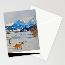 Jugend-Munich illustrated weekly for art and life - 1906 Cold Climate Snow Mountains Fox Stationery Cards