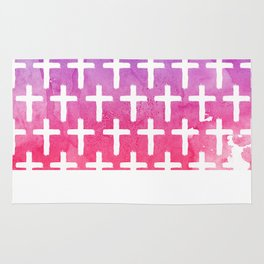 Cross Pattern Abstract Pink Purple Watercolor Rug