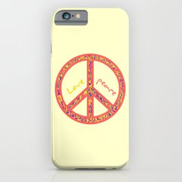 Peace and love, colorful and groovy hippie sign, 60's symbol of freedom iPhone Case