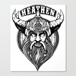 heathen black and white king viking Canvas Print