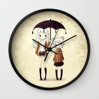 sisters Wall Clocks featuring Sisters by Freeminds