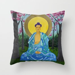 Meditation in bloom Throw Pillow