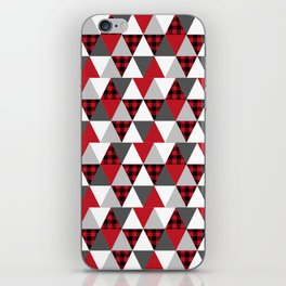 Quilt pattern buffalo check pattern red black and white with grey minimal camping iPhone Skin