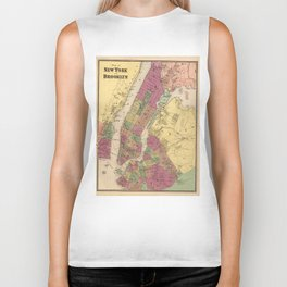 Vintage Map of NYC and Brooklyn (1868) Biker Tank