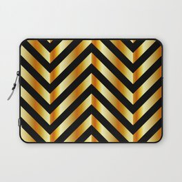 High grade raw material golden and black zigzag stripes Laptop Sleeve