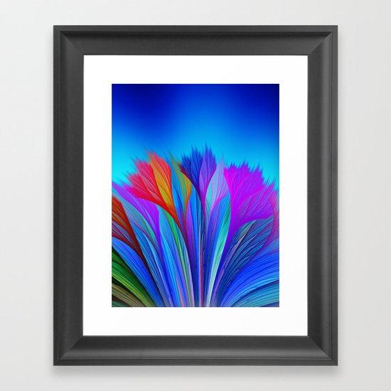 Flower Fantasy in Blue Framed Art Print