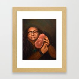 Danny DeVito with his beloved ham Gerahmter Kunstdruck