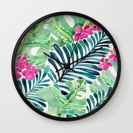 Lush Tropical Fronds & Hibiscus Wall Clock