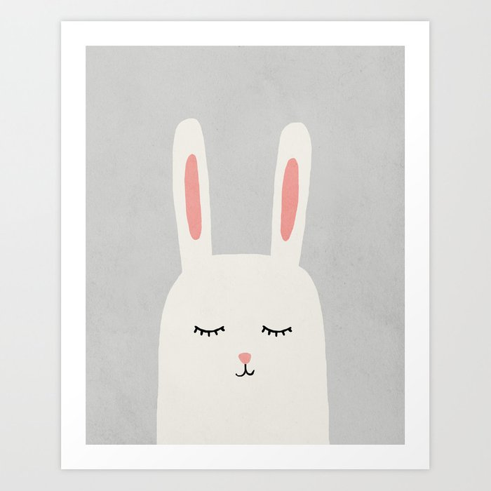 Rabbit Bunny Mid Century Modern Kids Art Children S Decor Nursery Room Print By Scandihome