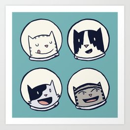 CatStronauts Team Heads Art Print