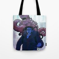 xmen Tote Bags featuring Xmen vs The Thing by ashurcollective