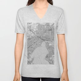 Vintage Map of Jacksonville Florida (1950) BW Unisex V-Neck