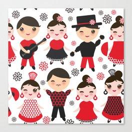 Spanish flamenco dancer. Kawaii cute face with pink cheeks and winking eyes. Gipsy Canvas Print