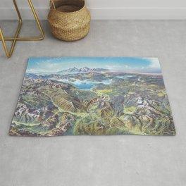 Heinrich Berann - Panoramic Painting Yellowstone National Park (1991) Rug