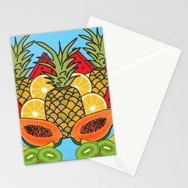 Turquoise Tropical Fruit Stationery Cards