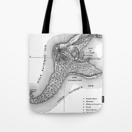 Map of the Mysterious Island - Jules Verne - Vintage Map Tote Bag