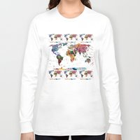 retro Long Sleeve T-shirts featuring map by mark ashkenazi