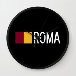 Italy: Roman Flag & Roma Wall Clock