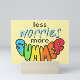 Less Worries, More Summer, landscape version, beige version Mini Art Print