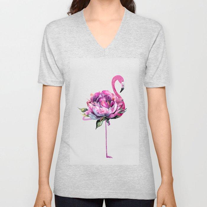 Flower Flamingo Unisex V-Neck