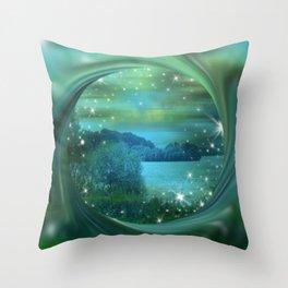 Starlit Lake. Throw Pillow