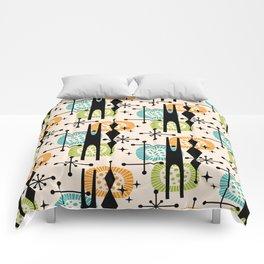 Retro Atomic Mid Century Pattern Orange Green and Turquoise Comforters