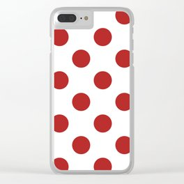Large Polka Dots - Firebrick Red on White Clear iPhone Case