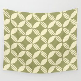 Mid Century Modern Geometric Flower Pattern Olive and Cream 2 Wall Tapestry